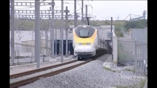 Eurostar train going into a tunnel