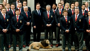 PM falls victim to 'bunny ears' prank during Lions No 10 reception