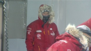 Wrapped up warm, Prince Harry inside the cold chamber.