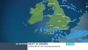 Radar shows the rain from today clearing away southwards by Wednesday