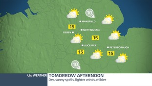 Dry with sunny spells on Wednesday afternoon in the East Midlands