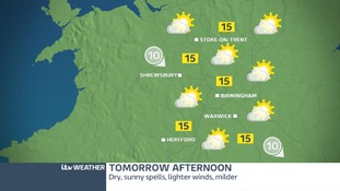 The West Midlands will be dry, bright and warmer on Wednesday afternoon