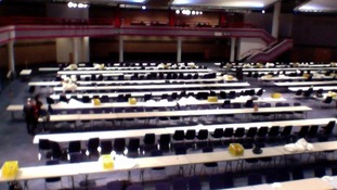 Empty tables and chairs at the ICC in Birmingham