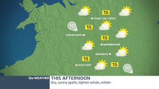 The West Midlands will be dry with afternoon and feel slightly warmer