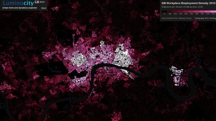 Map showing changes in emplyment density in London comparing census data from 2001 and 2011