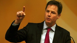 Nick Clegg speaking earlier in the conference.