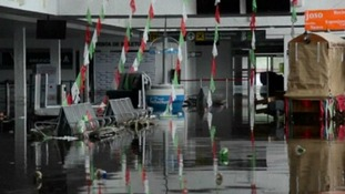 The departure lounge is flooded at Acapulco airport.
