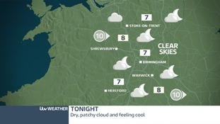Dry tonight in the West Midlands but feeling cold
