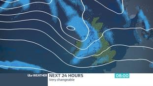 Rain will sweep south-eastwards tomorrow morning