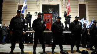 Golden Dawn members at a gathering in Athens in February 2013