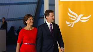 Nick Clegg and his wife Miriam arriving ahead of his speech.