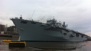 HMS Ocean berthed at Greenwich on Friday 4th May.