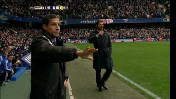 Chris Hughton and Andres Villas Boas on touchline at Chelsea