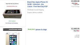 Listings for the new iPhone 5S on eBay