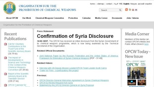 The OPCW website confirms it has received some details from the Syrian regime