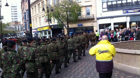 Soldiers marching through Nottingham