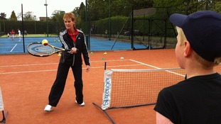 Judy Murray coaches kids in charity event