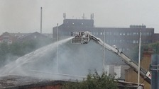 The crane used by fire crews is operated from the ground