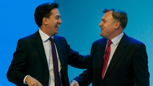 Ed Miliband congratulates Ed Balls after he gives his speech at the Labour Party Conference in Brighton