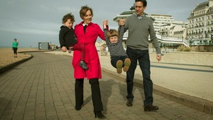 The Miliband family walk along Brighton seafront