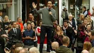 Ed Miliband addresses the public outside the Labour party conference