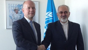 Foreign Secretary William Hague and Mohammad Javad Zarif in New York.