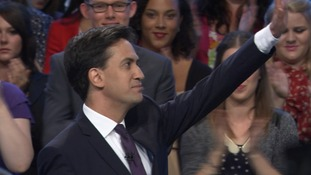 Ed Miliband thanks supporters for their applause at the end of his conference speech