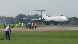 VC10 arrives at Dunsfold airfield in Surrey