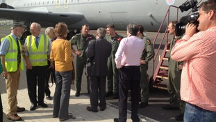 Sqn Leader Tim Kemp hands over the VC10 to Brooklands trustees Penelope Keith and Lord Trefgarne