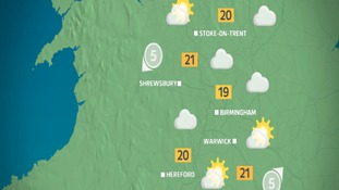 West Midlands: Sunny and feeling warm this afternoon
