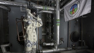 Suiting up: Hefin Jones' space suit is made from Welsh wool - and contains a pressure system made by a Welsh plumber.