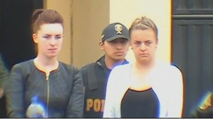 Michaella McCollum Connolly (L) and Melissa Reid being taken from prison to a court hearing.