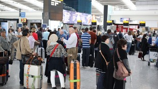Queues form as British Airways' passengers with check-in luggage were unable to fly