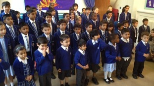 Children from Stoneygate College have sung a new Anthem for Leicester