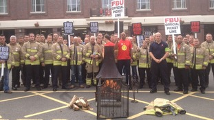 Dozens of firefighters gathered outside Leicester Fire Station