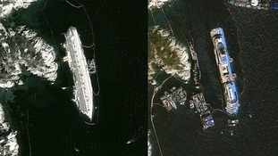 The Costa Concordia before the salvage attempt (left) and after (right.