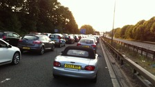 The eastbound carriageway of the M62