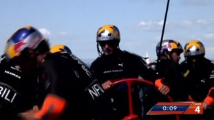Sir Ben Ainslie led the Oracle to beat Emirates Team New Zealand 9-8.