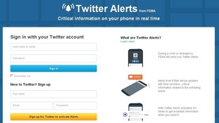 The login page to sign up for Twitter Alerts from an account explains how it works.
