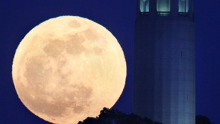 The  full moon rises besided San Francisco Coit Tower in San Francisco