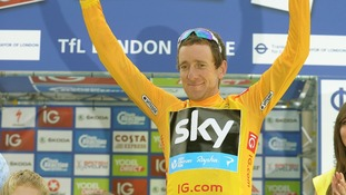 Sir Bradley Wiggins picking up his Tour of Britain trophy in London last week