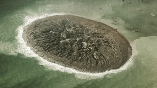 A close-up photo of the surface of the new island