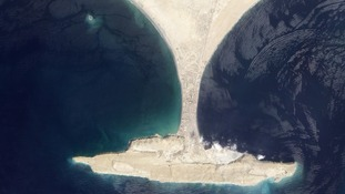 The new island can be seen in the top-left of this aerial image of Pakistan's Gwadar coastline in the Arabian Sea.