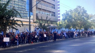 Supporters of Golden Dawn hold a protest in Athens