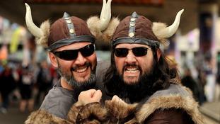 Minnesota Vikings fans on Wembley Way prior to tonight's NFL International Series match.