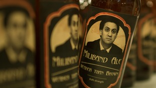 Bottled of 'Miliband Ale' on display at the Conservative Party conference