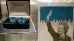'The Lady's Not For Turning' cuff links on sale at the conference
