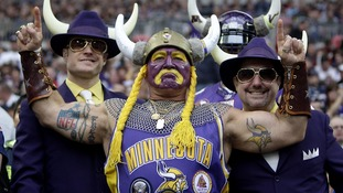 Vikings fans show their support ahead of the match against the Pittsburgh Steelers at Wembley Stadium.