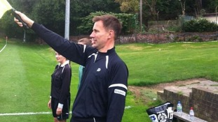Health Secretary Jeremy Hunt acts as linesman at the LobbyXI versus Tories match.