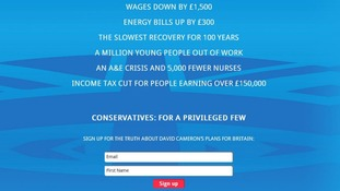 Labour created this web page asking people to sign up 'for the truth about David Cameron's plans for Britain'.